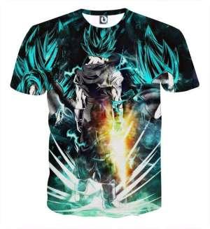 T Shirt 3D All Over Dragon Ball Super Vegeto Blue God