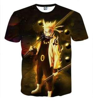 T Shirt All Over 3D Naruto Kyubi Mode Fight