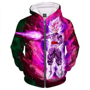 Veste à capuche 3D All Over Dragon Ball Super Black SSJ Rosé