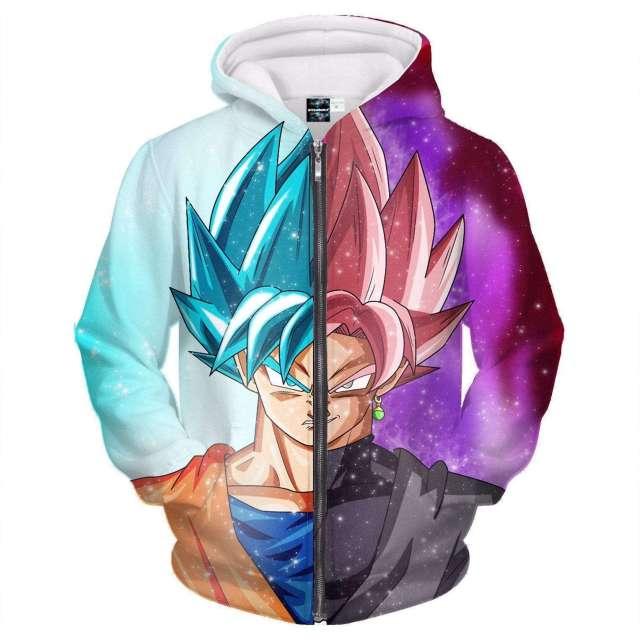 Veste à capuche 3D All Over Dragon Ball Super Black Vs Goku