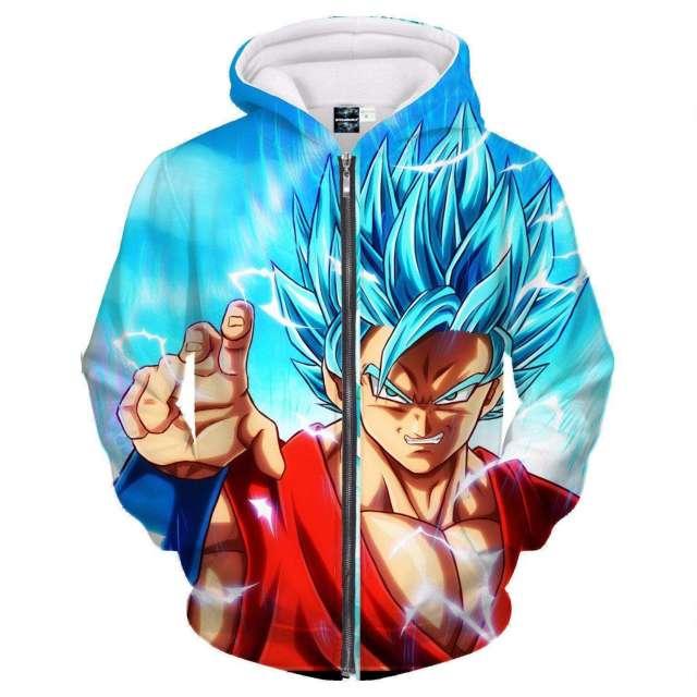 Veste à capuche 3D All Over Dragon Ball Super Goku SSJ God