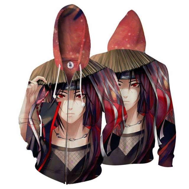 Veste à capuche 3D All Over Naruto Uchiha Itachi Akatsuki