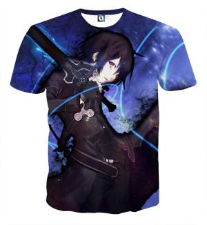 T Shirt 3D All Over Sword Art Online Kirito Night