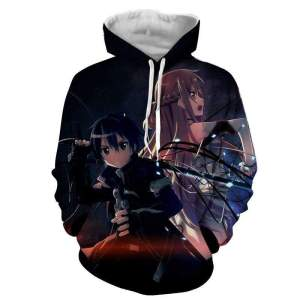 Pull à capuche 3D All Over Sword Art Online Asuna X Kirito Battle