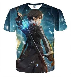 T Shirt 3D All Over Sword Art Online Kirito Fight