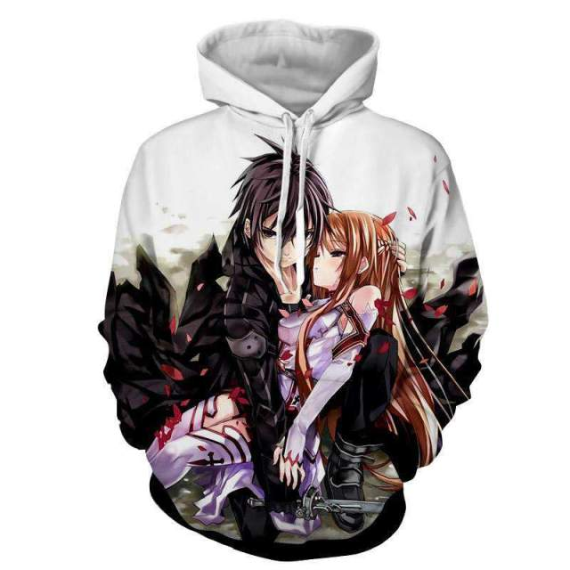 Pull à capuche 3D All Over Sword Art Online Kirito Asuna Protection