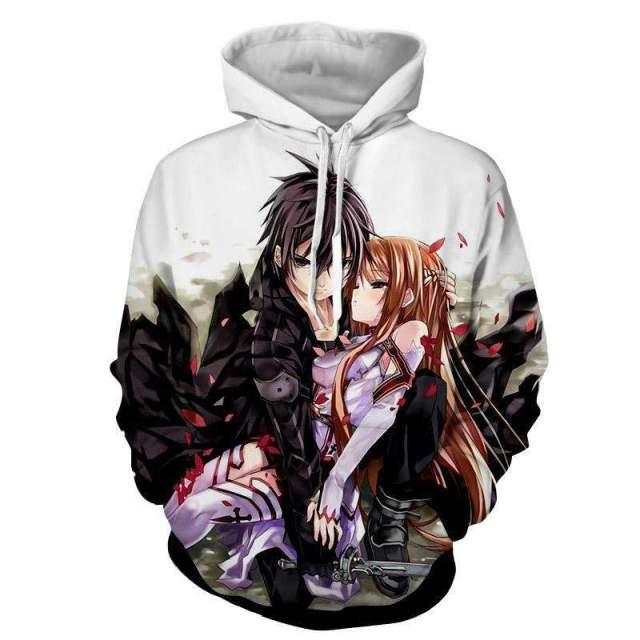 Pull à capuche 3D All Over Sword Art Online Kirito Asuna Protection