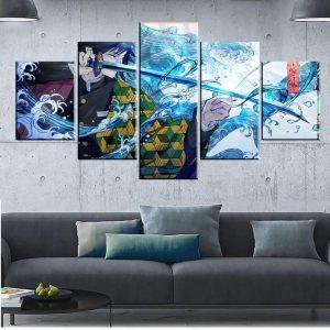 Décoration murale en 5 pièces Demon Slayer Kimetsu No Yaiba Giyu Pouvoir