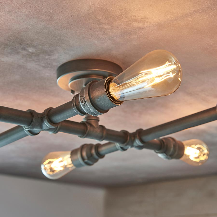 pipe 6 light steampunk semi flush ceiling light aged pewter 78763