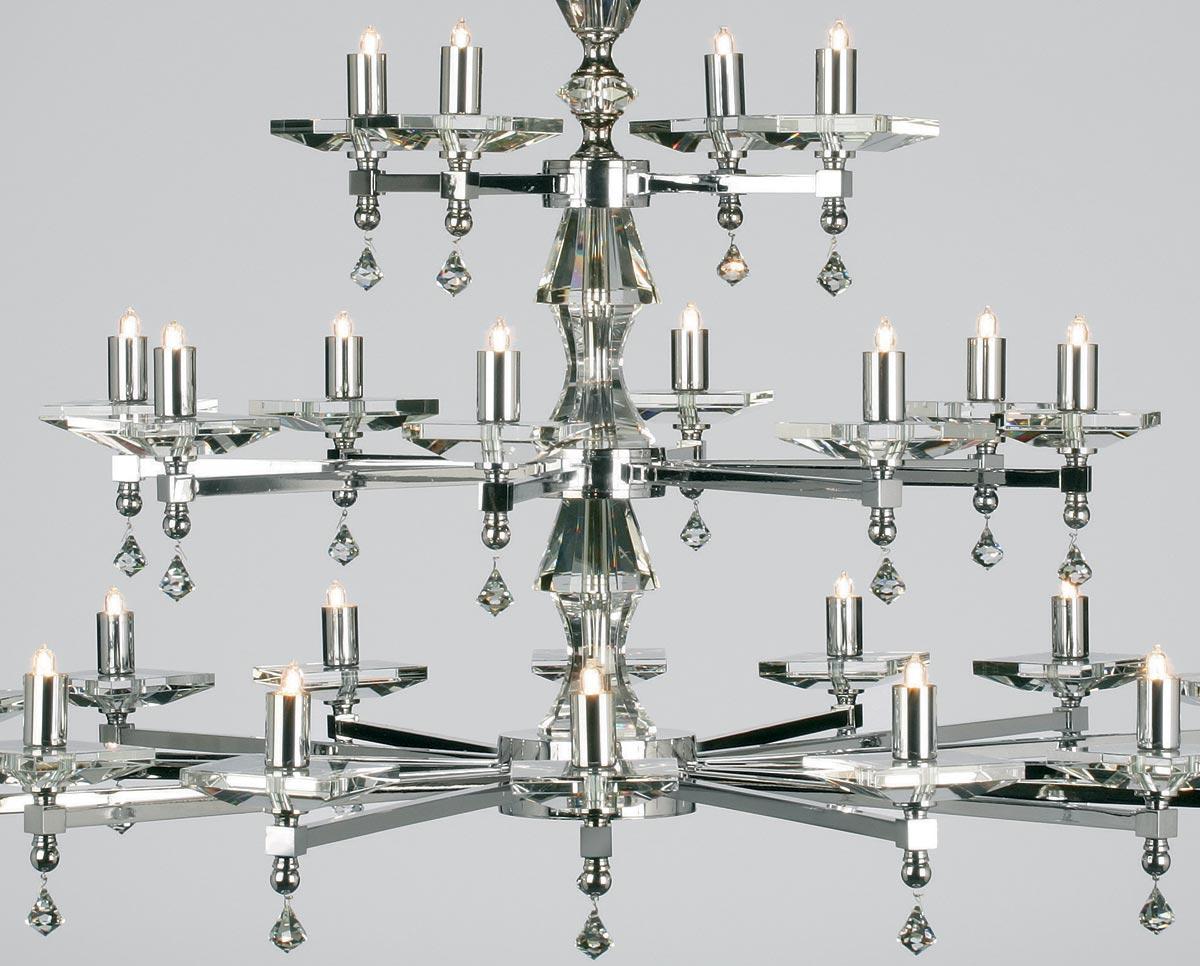 Impex Capri Large Optic Glass 28 Light Chandelier Polished Nickel Sth 28 N