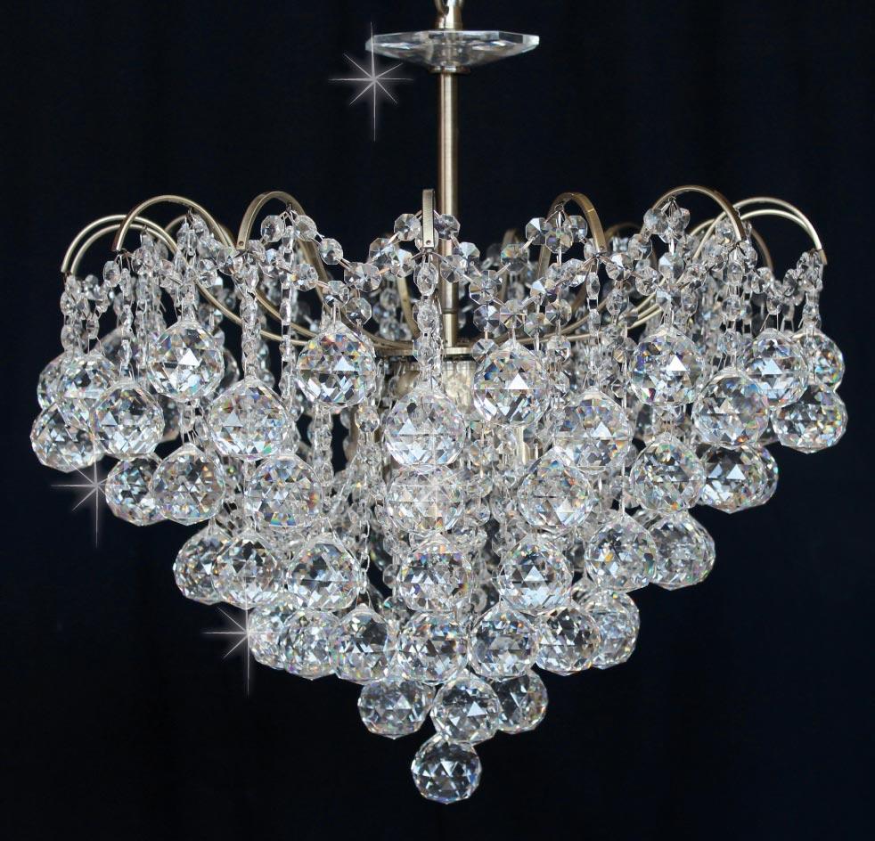 Impex Emmie 5 Light Crystal Pendant Chandelier Antique Brass