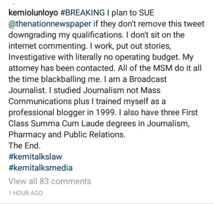 IMG_20200419_114328_343 Kemi Olunloyo threatens to sue The Nation Newspaper for claiming Abba Kyari's death gave her fame