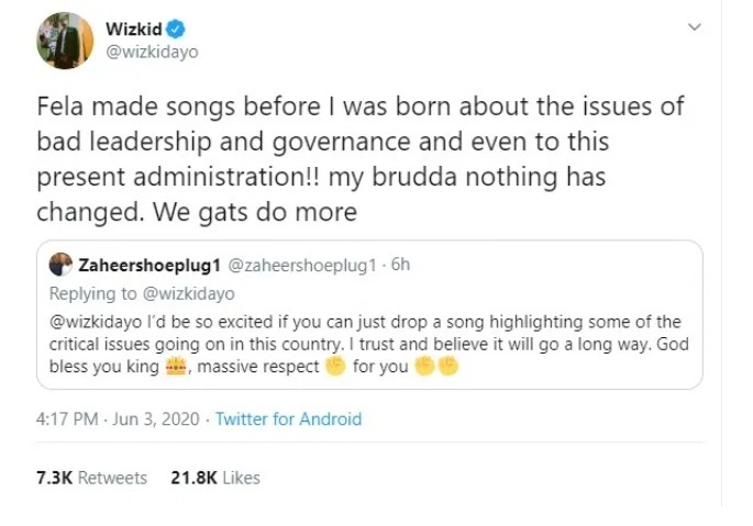 IMG_20200604_080607_952 Fela sang about bad leadership but nothing changed' – Wizkid says why he can't sing for Nigeria