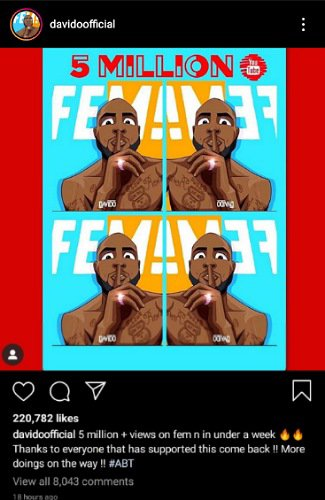 """img_16092020_141556_325_x_500_pixel7368966762359285129 Davido excited, appreciates fans as """"Fem"""" hits over 5 million views"""