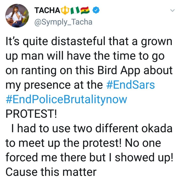 """IMG_20201009_164944_476-768x779-1 You are one of the problems we are trying to change in Nigeria – Tacha fires back at man who called her """"dirty, smelling girl"""""""