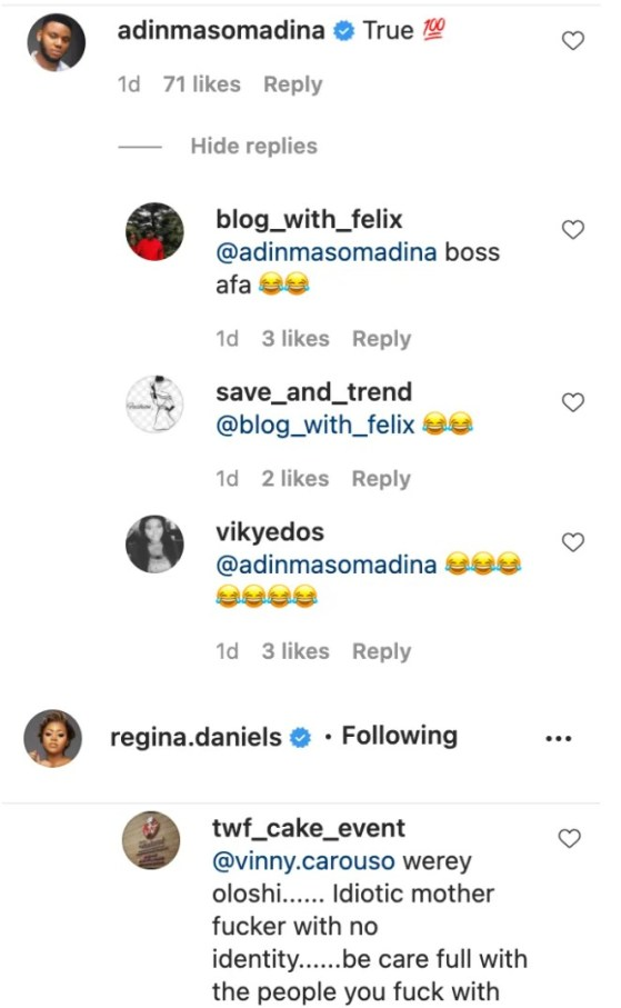 Screenshot_20201226-181708-616x1000 You Need To Leave Her Alone, She Is Married Now & Life Goes On' – Somadina's Recent Comment About Regina Daniels' Post Causes Stir