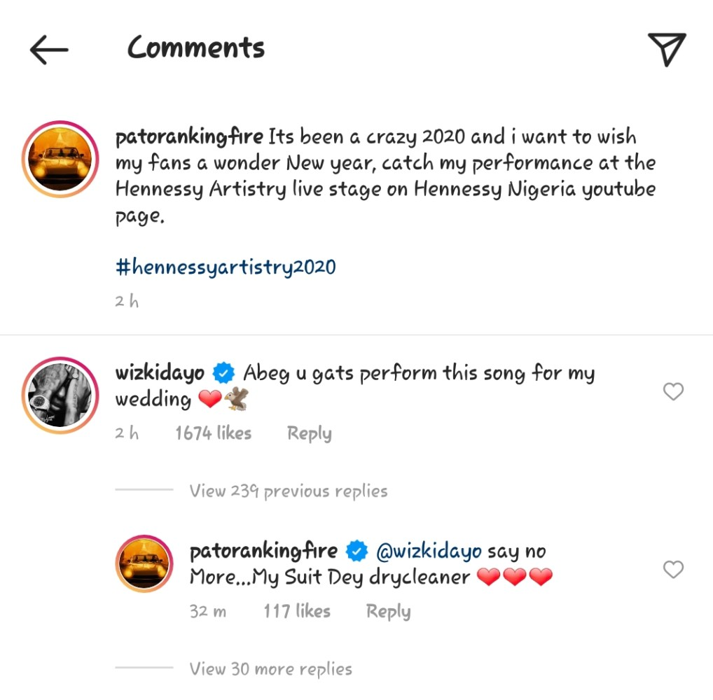 "Screenshot_20201231-155209-1-1018x1000 You Have To Perform 'Abule' At My Wedding"" – Wizkid Tells Patoranking (Video)"
