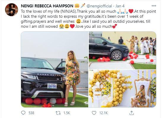 ddgdgdg Nengi pens appreciation note to fans for buying her a Range Rover