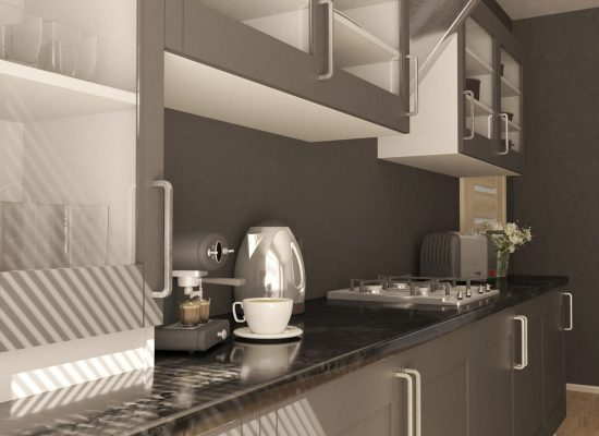3D render of a contemporary kitchen interior