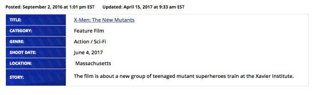 x-men new mutants data inizio riprese