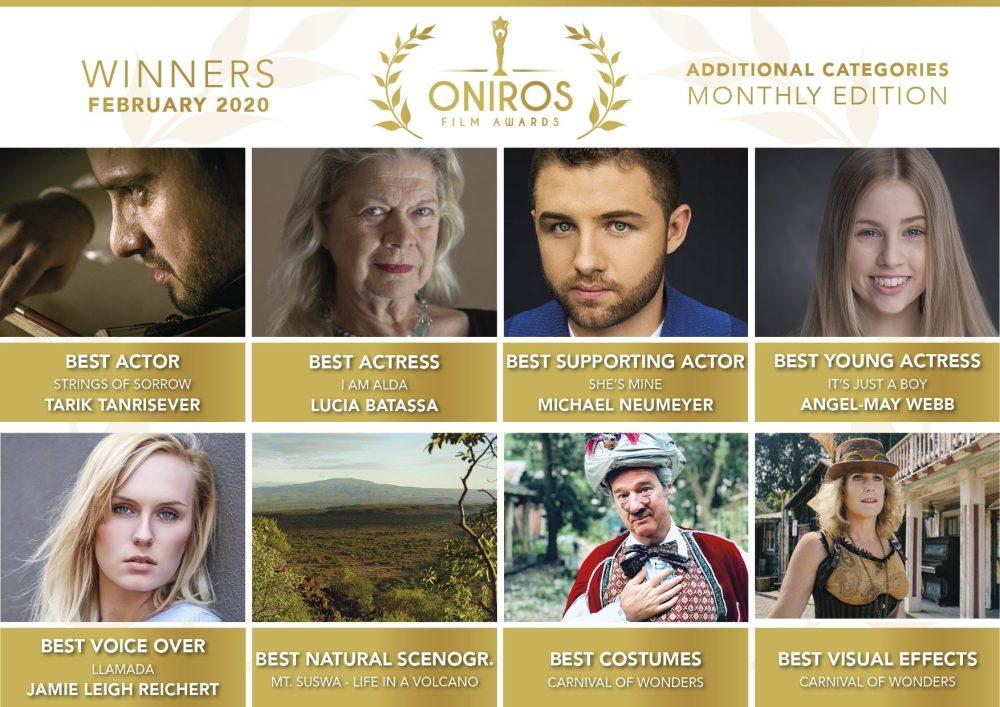 Oniros Film Awards: La direzione celebra i vincitori del concorso Febbraio 2020
