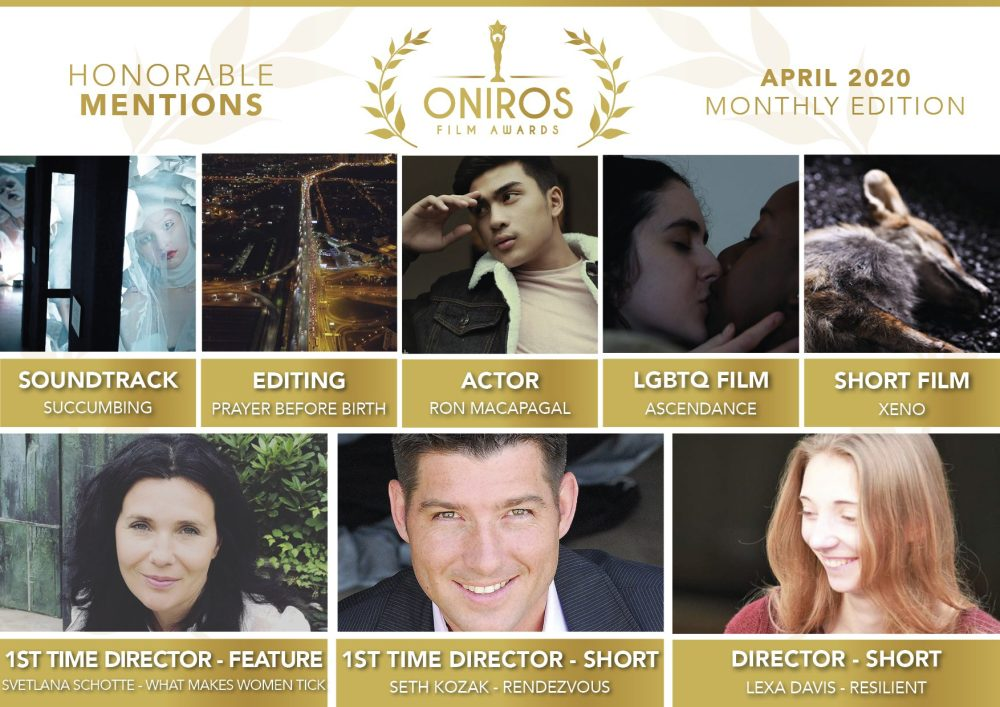 I vincitori del concorso Aprile 2020 di Oniros Film Awards