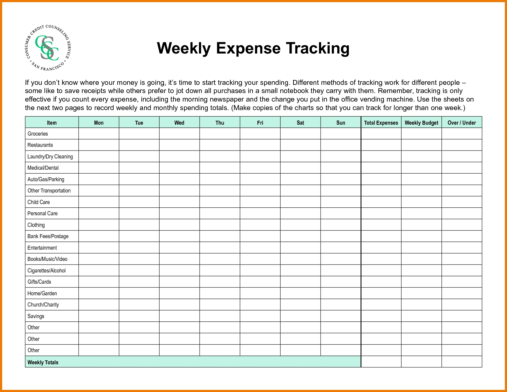 28 Weekly Budgeting Worksheets