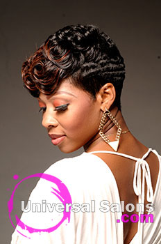 natasha johnson s ocean curls short hairstyle with hair color and pin curls