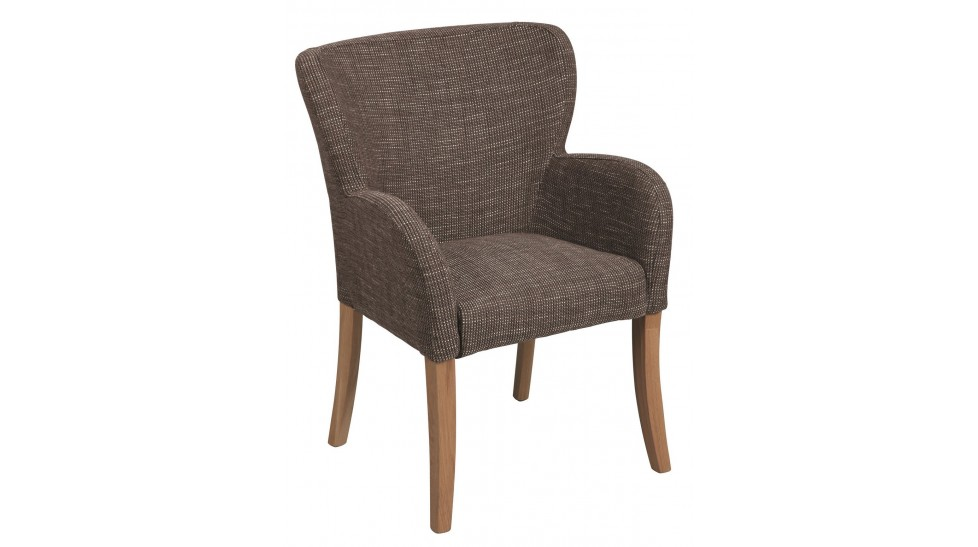 fauteuil en tissu gris avec accoudoir bruno