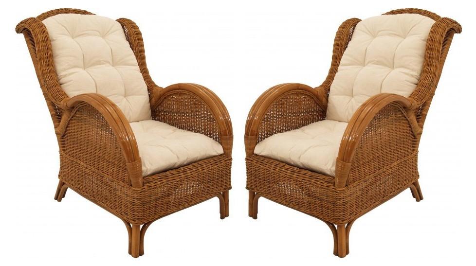 fauteuils en rotin miel lot de 2 fauteuils rotin