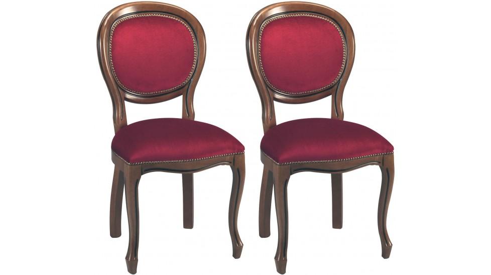 chaises medaillon velours bordeaux x2