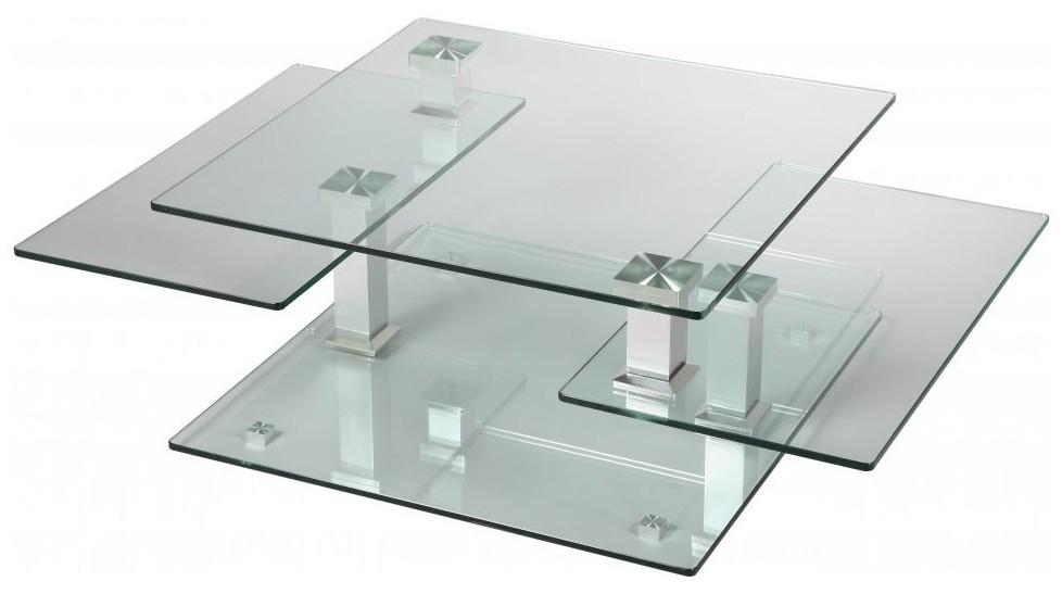table basse carree en verre 3 plateaux articules