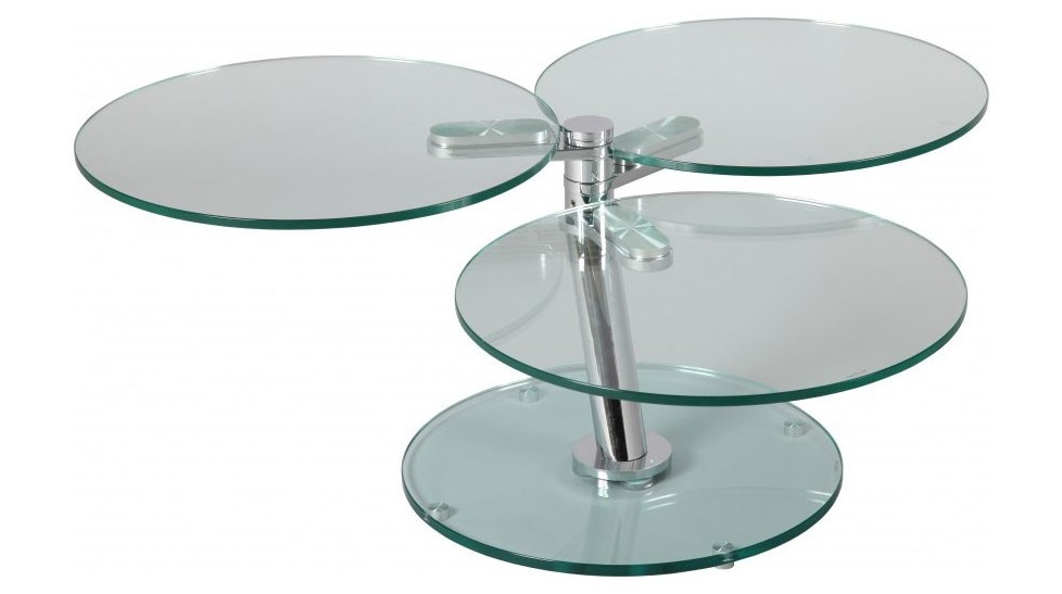 table basse ronde articulee 3 plateaux verre