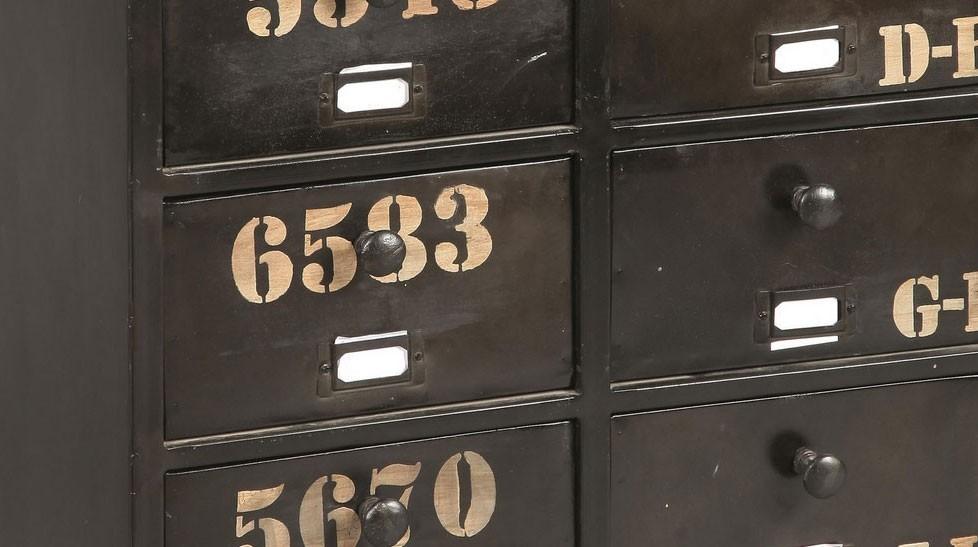 meuble de rangement acier noir 10 tiroirs