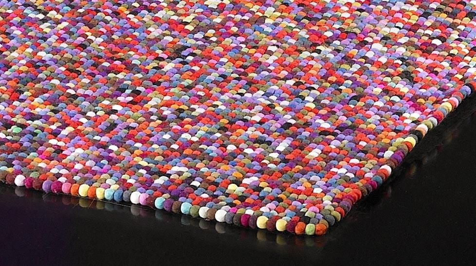 Tapis 100 Boules De Laine Multicolores Tapis Laine Haut