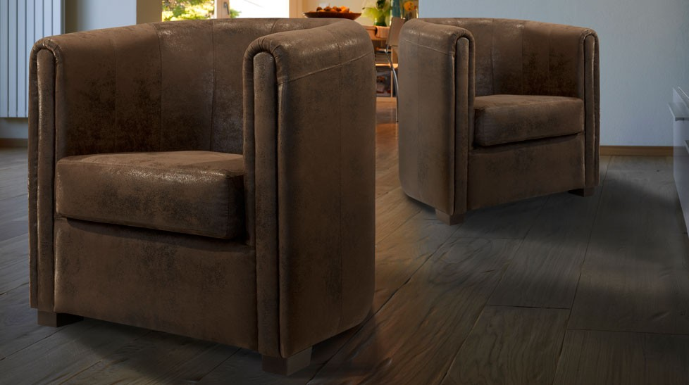 fauteuil cabriolet microfibre aspect cuir vieilli marron