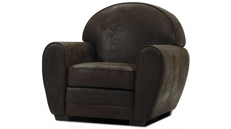 fauteuil club microfibre aspect cuir vieilli marta
