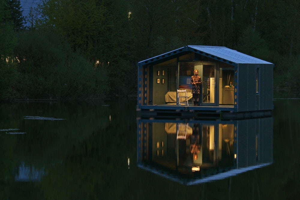 off grid floating cabin by BIo architect