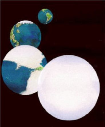A series of illustrations showing how Earth may have become a snowball planet. Image Credit: NASA