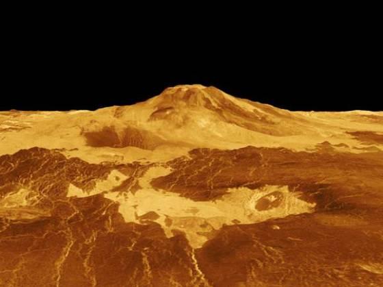 3-D perspective of the Venusian volcano, Maat Mons generated from radar data from NASA's Magellan mission. Image Credit: NASA
