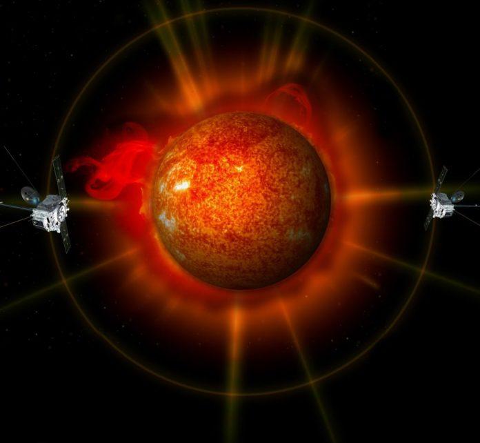 Das Konzept eines Künstlers zeigt die beiden STEREO-Observatorien auf gegenüberliegenden Seiten. Gutschrift: NASA
