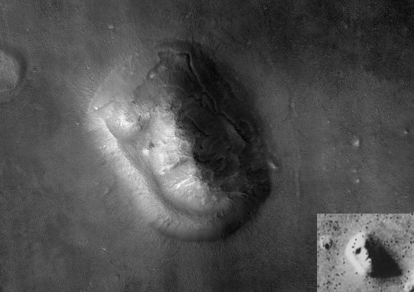 "Mars Reconnaissance Orbiter image by its HiRISE camera of the ""Face on Mars"". Viking Orbiter image inset in bottom right corner. Credit: NASA/HiRISE"