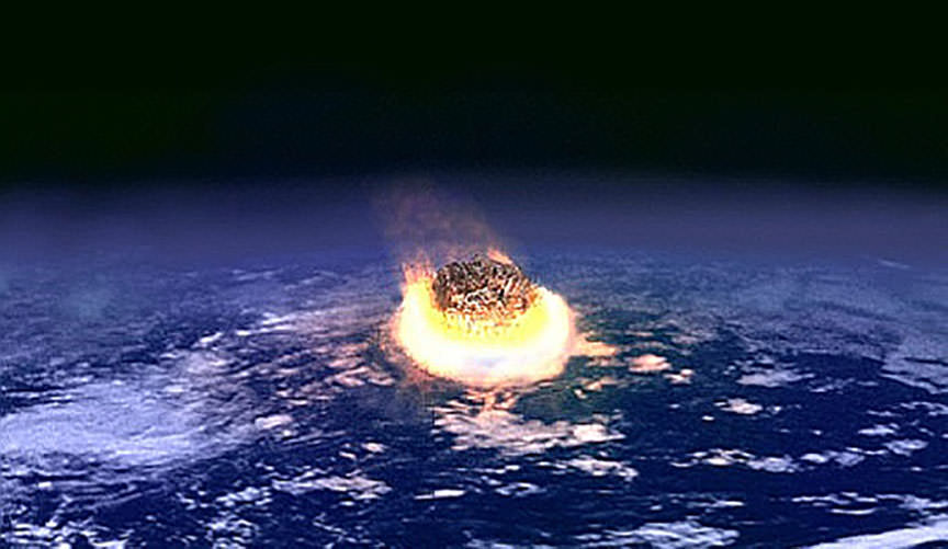 Artist's impression of a major impact event: A collision between Earth and an asteroid a few kilometres in diameter would release as much energy as several million nuclear weapons detonating.