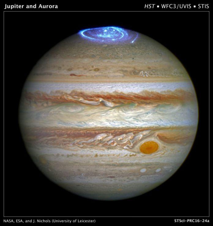 Image of the aurora on Jupiter.