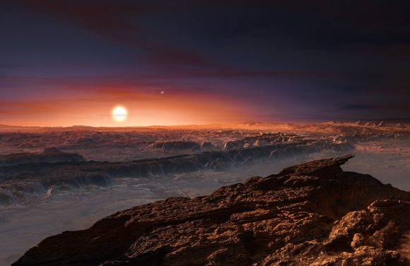 Artist's impression of the surface of the planet Proxima b orbiting the red dwarf star Proxima Centauri. The double star Alpha Centauri AB is visible to the upper right of Proxima itself. Credit: ESO