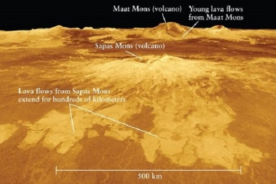 Volcanoes and lava flows on Venus. There are over 1,000 volcanic structures on the surface of Venus, and the surface of the planet is over 90% basalt, indicating that Venus has likely been resurfaced almost completely with lava. Credit: NASA/JPL