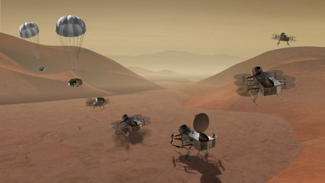 In this illustration, the Dragonfly helicopter drone is descending to the surface of Titan. That mission will face even more severe data transmission problems than Mars rovers. Image: NASA