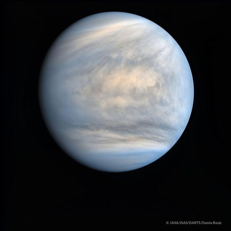 Venus in the ultraviolet courtesy of JAXA's Akatsuki spacecraft. The planet's thick atmosphere make it hard to observe. Credit: JAXA/Akatsuki/ISAS/DART