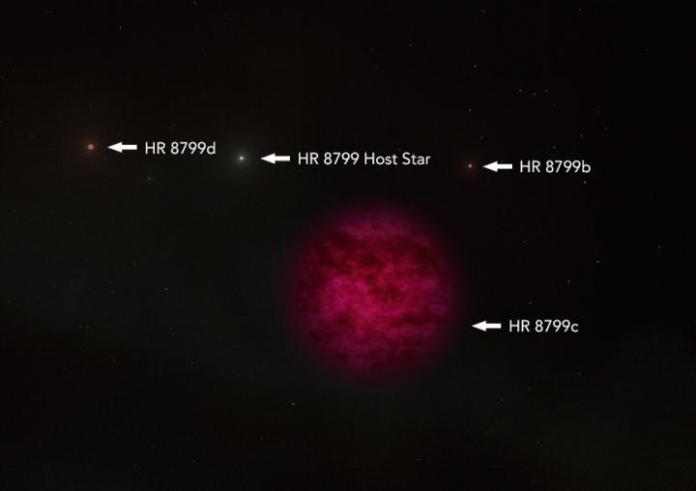 Un'illustrazione dell'artista dell'esopianeta HR 8799c. È circa 7 volte più massiccio di Giove e gli scienziati hanno confermato la presenza di acqua nella sua atmosfera. Immagine di credito: WM KECK OBSERVATORY / ADAM MAKARENKO / C. ALVAREZ
