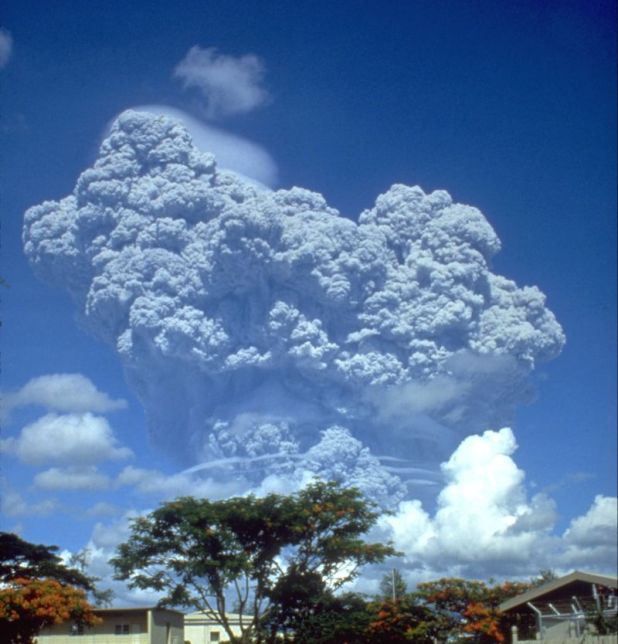 When Mt. Pinatubo exploded in the Philippines in 1991, 20 million tons of SO2 spread to the atmosphere. Global temperatures have fallen by 0.5 centigrade over the next two years. Image Credit: US Geology Survey by Richard P. Hoblitt. - Archived resource link, Public Domain, https://commons.wikimedia.org/w/index.php?curid=545018